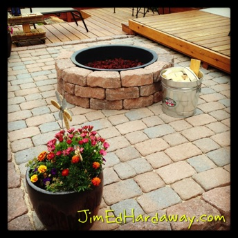 Fire Pit. S'mores go great by a campfire out in the wilderness, and they go even better at the fire pit right outside your back door.  The heavy lifting of pavers and wheelbarrow loads of filler dirt pay off in the long run. Not only will you enjoy tons of s'mores, but also great conversations around this permanent addition to your deck area.