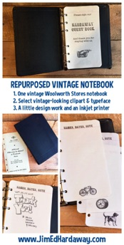 Repurposed Vintage Guestbook. We wanted a guestbook for the guest room in our house to log visitors who stayed with us. One vintage Woolworth Stores mini-notebook, some simple design work and printing, and presto!