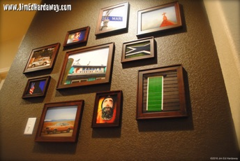 Photo Wall. What better way to decorate a wall than with photos from your adventures! Print and frame in various sizes, and hang them randomly. I even keep multiple prints behind each and change them often for a fresh look!